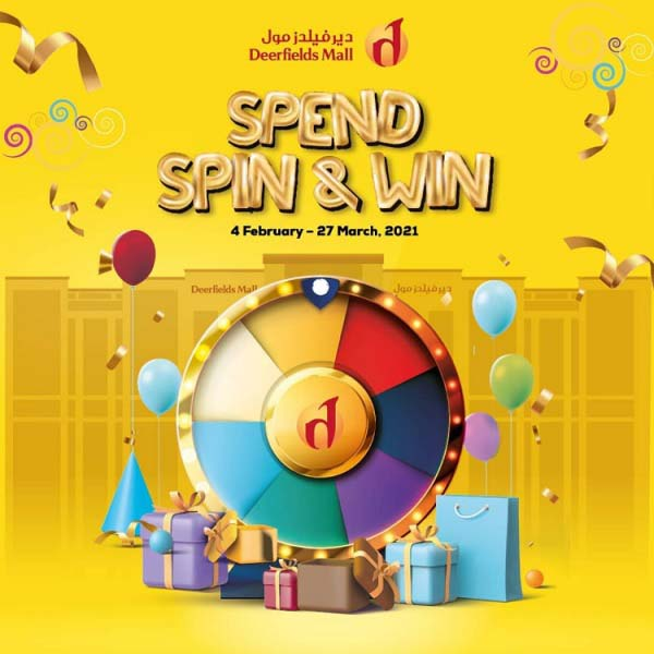 Spend, Spin & Win with Deerfields Mall. Spend AED 200 at any retail outlet or AED 500 at Carrefour and get a chance to Spin the Wheel to win instant prizes. Simply present your receipts at the stand in the main atrium on Level 2 for a chance to spin the wheel and win! Get shopping! Yalla! When: 4 February - 27 March, 2021