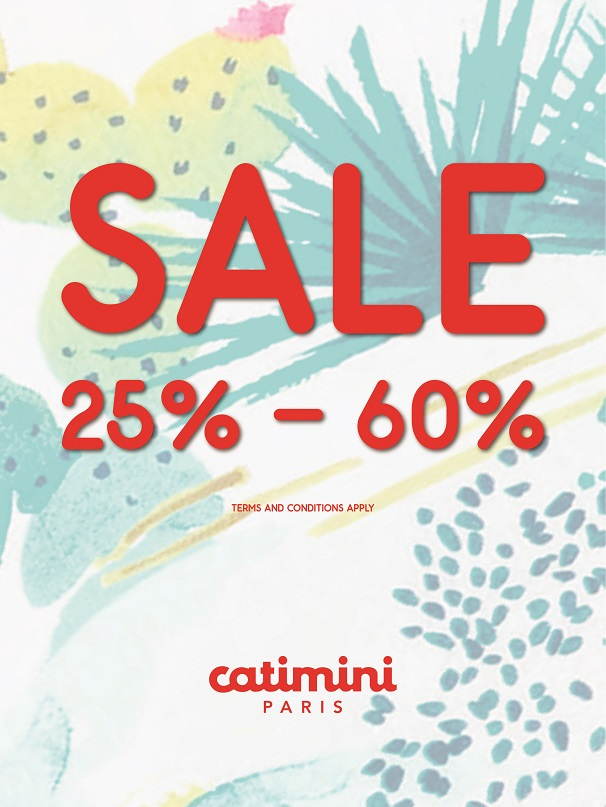 Catimini - SALE 25% to 60%.  Promotion valid from: 19th Jul – 4th Aug. Store location: The Dubai Mall – 2nd floor opp. aquarium