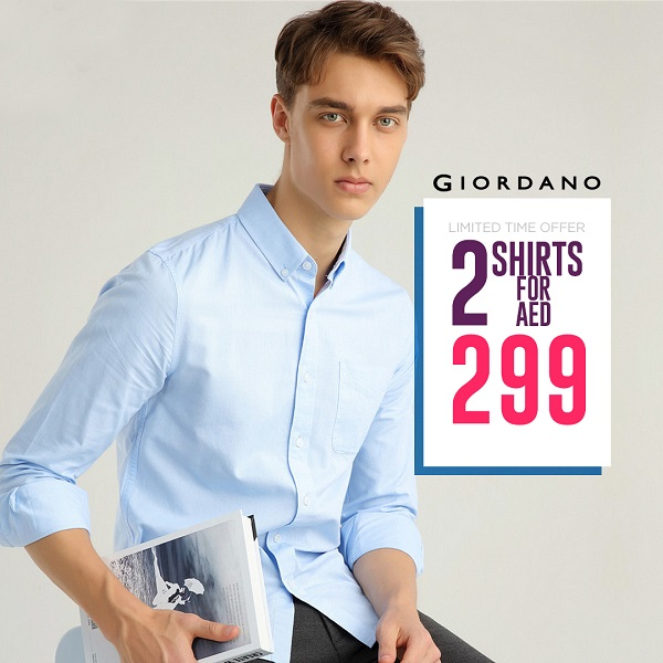 Giordano - Limited Time Offer. 2 Shirts for AED 299.