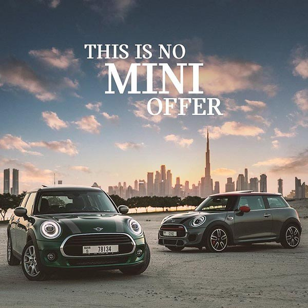 THIS IS NO MINI OFFER : Drive home with a MINI 3 Door for AED 69 per day or a MINI 5 Door for AED 72 per day.
