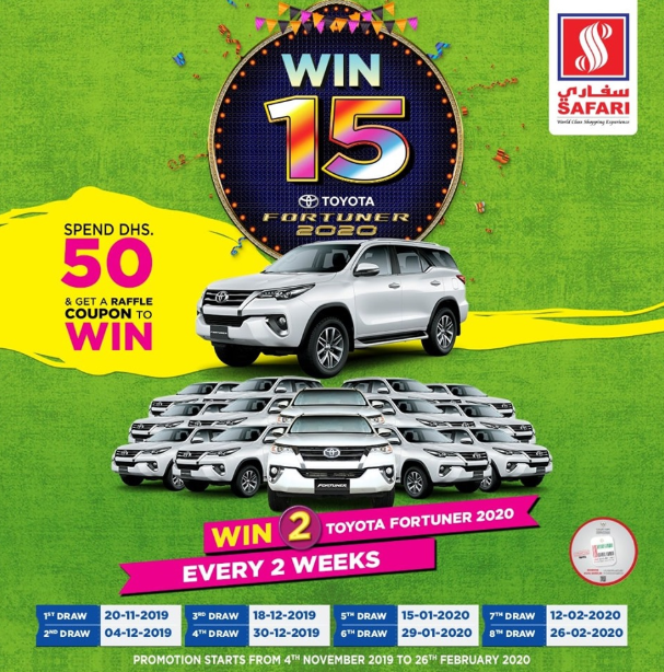 Visit Safari Hypermarket, Spend 50 Dhs and you could drive home a Brand New TOYOTA FORTUNER!  The contest has begun and will be announcing 2 lucky winners every 2 weeks!