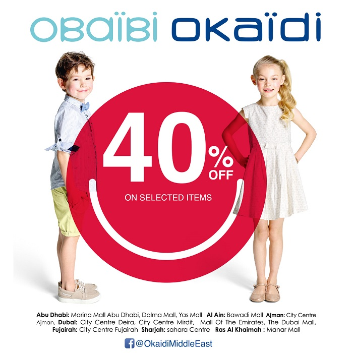 40% off on selected items at Okaidi Obaibi. Offer valid from 9th - 12th May 2018.