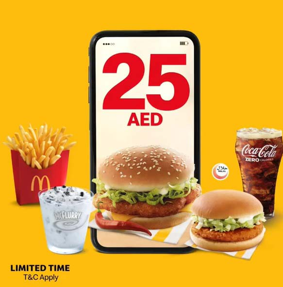 Enjoy a Big Mac medium meal, a Cheeseburger, and a McFlurry Oreo OR a Spicy McChicken medium meal, a Chickenburger, and a McFlurry Oreo for only 25 Dirhams each and for a limited time @ McDonald's App.