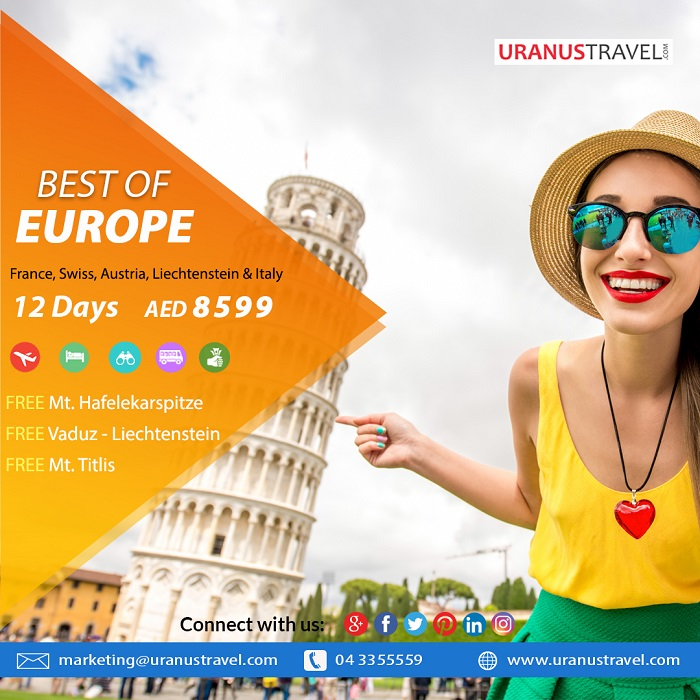 Uranus Travel & Tours - Best of Europe 12 Days AED 8599. Package Includes: Flights, 4* Hotel, Tours, Transfers, Breakfast, Tour Guide & Taxes