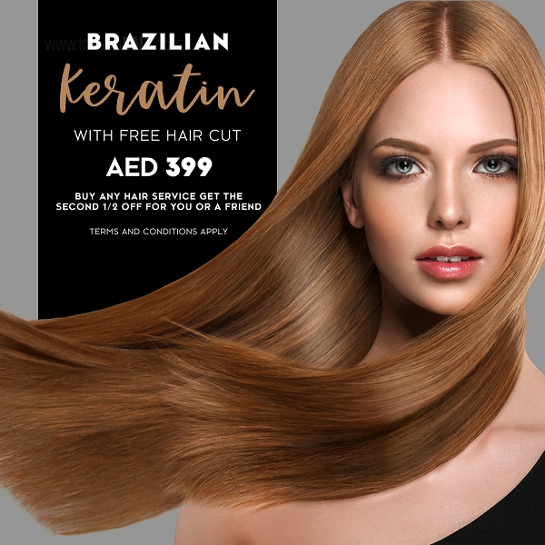 Mirrors Beauty Lounge - Brazilian Keratin with free haircut AED 399. Buy any hair service get the second 1/2 Off for you or a Friend. T&C apply