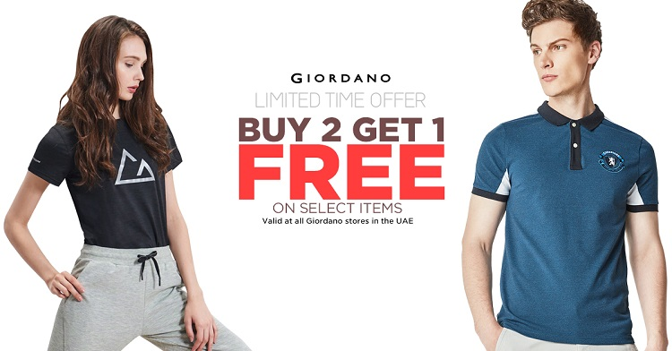 Giordano - Limited Time Offer. Buy 2 Get 1 Free on select items. Valid at all Giordano stores in the UAE.