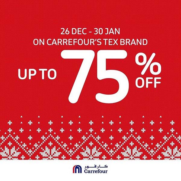 Enjoy Up To 75% off on all Tex Brand items, from t-shirts and sweaters to bed linens and more when you shop at any Carrefour Hypermarket until the 30th January 2021. Offer available until stocks last