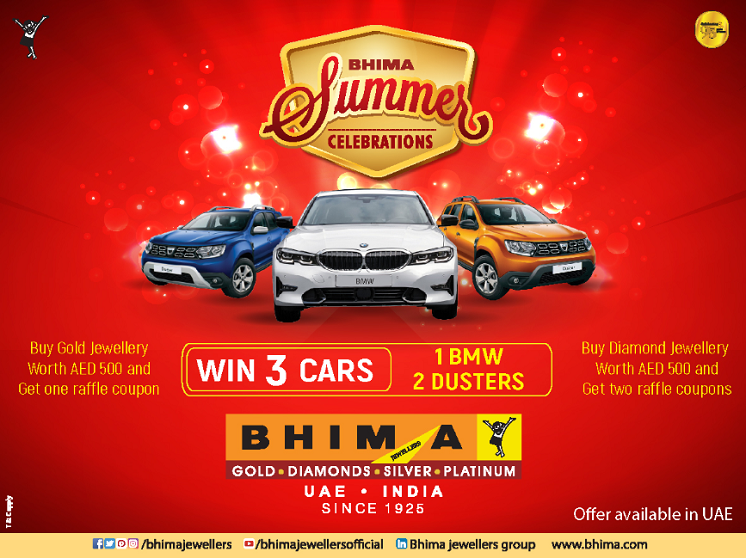 Drive home in your favourite car! Win mega prize 1 BMW and 2 Dusters. Buy gold jewellery worth AED 500 and get one raffle coupon. Buy Daimond jewellery worth AED 500 and get two raffle coupon.  A whole new Bhima Experience you can't afford to miss !! Conditions Apply. Offer available only in UAE