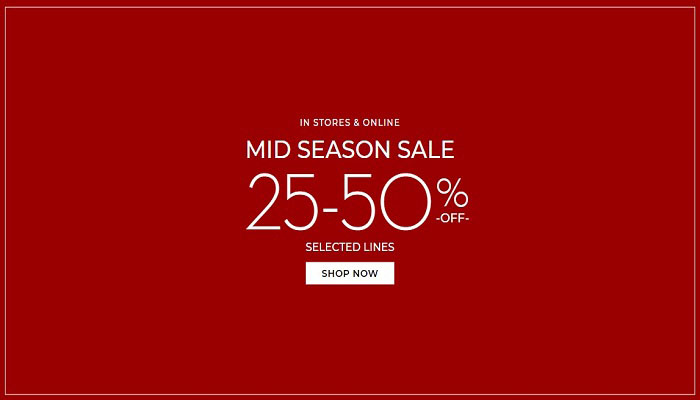 Mid Season Sale. 25% - 50% Off Selected Lines @ Pottery Barn. Available In-Store & Online
