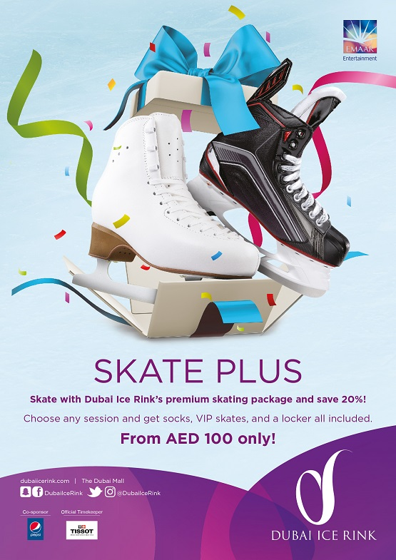 Skate with Dubai Ice Rink's premium skating package and save 20%!  Choose any session and get socks, VIP skates, and a locker all included. From AED 100 only!