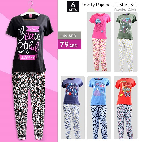OpenKart.com - Women's Lovely Pajama Set of 6 Pieces