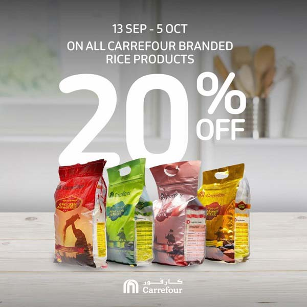 Keep your kitchen fully stocked! Enjoy 20% off on the full range of Carrefour rice. Shop online or at any Carrefour Hypermarket until the 5th of October.