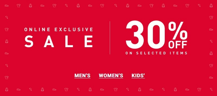 Online Exclusive Sale @ Foot Locker. 30% Off on selected items.