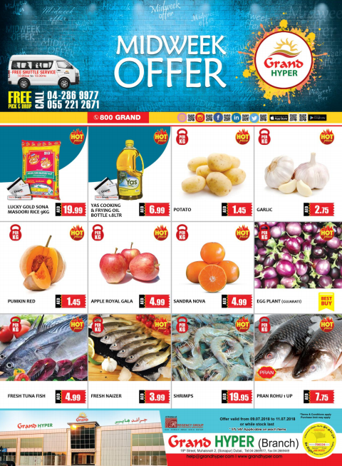 Mid Week Offers at Grand Hyper Muhaisinah. Offer valid from 9th to 11th July 2018 or while stock last.