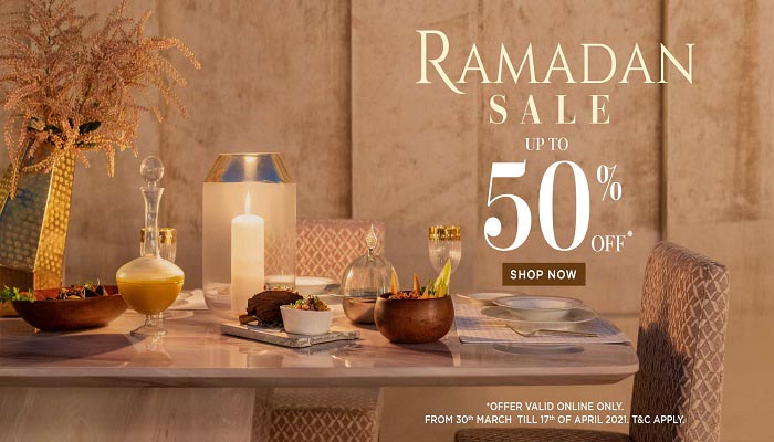 Ramadan Sale. Up to 50% Off @ 2XL Furniture & Home Decor. Offer valid Online Only. Offer valid from  30th March till 17th April 2021. T&C's Apply