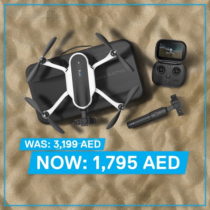 GoPro Karma Drone 1,795 AED. Promotion valid until stocks last. Available exclusively in Beyond the Beach stores.