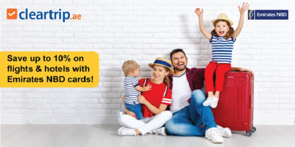 Unlock exciting travel deals with your Emirates NBD card! Whether you're travelling this year end or wish to explore someplace local, book and pay with your Emirates NBD card on Cleartrip to Enjoy Up to 10% off on flights and staycations! Offer validity : Until 30th April 2021, Coupon code : CTENBD