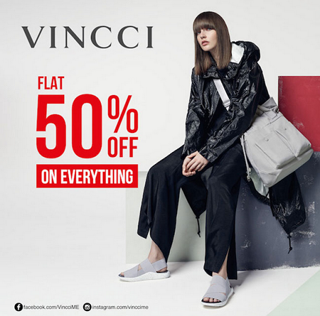 Everything at 50 % off at Vincci for 4 days only! Stock up on the stylish range of shoes and bags. From 30th November to 3rd December.