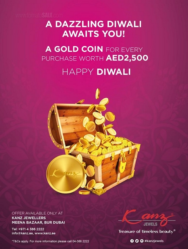 A Gold Coin for every purchase worth AED 2,500. Offer available only at Kanz Jewellers, Meena Bazaar, Bur Dubai. T&C apply.
