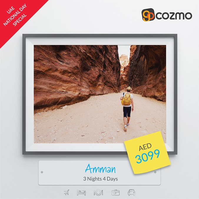 UAE National Day Special.  Visit Jordan - 3 Nights AED 3,099. Book Now @ Gocozmo.com