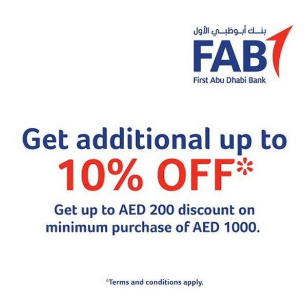 If you have a FAB credit card, you're in for a pleasant surprise! With FAB credit cards, get additional up to 10% discount* on products sold by Sharaf DG. Get a discount of up to AED 200 on a minimum purchase of AED 1000.  Terms and conditions apply