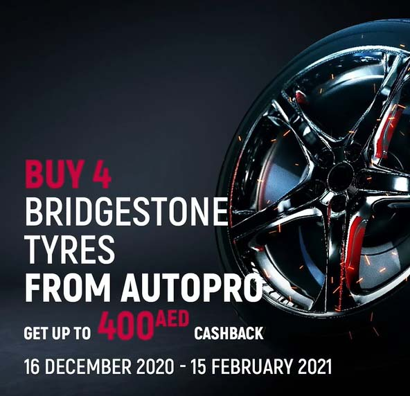 From 16 December 2020 to 15 February 2021, AutoPro is giving you up to 400 AED Cashback for each set of 4 Bridgestone tyres.
