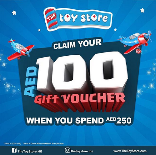 The Toy Store - Claim your AED 100 Gift Voucher when you spend AED 250. T&C apply.