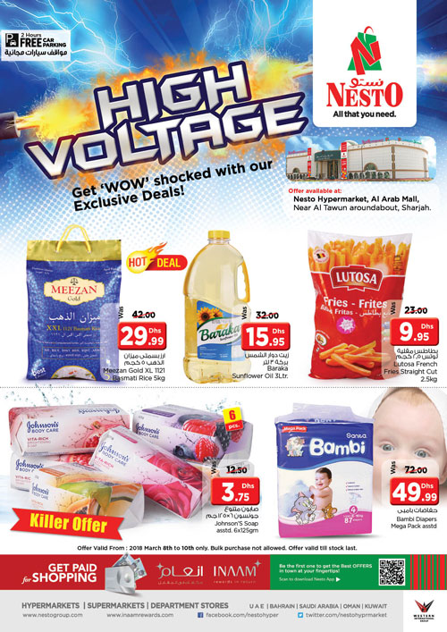 Weekend Grabs. From 2018 Mar 8 to Mar 10. Offer available at Nesto Hypermarket LLC, Al Arab Mall, Sharjah.