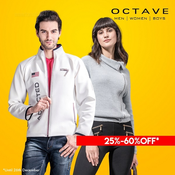 Get 25%-60% discount on Menswear, Kidswear, Ladies fashion and accessories at OCTAVE outlets across Dubai.  25%-50% discount at Sharjah & Abu Dhabi. T&C Apply.