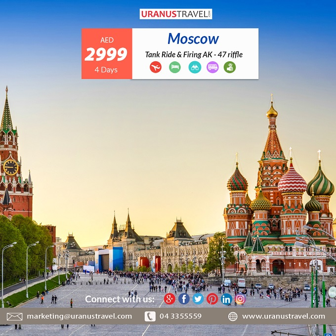 Moscow - Russia Tour Package AED 2999. Package Includes: Return Flight, 4* Hotel, Moscow City Tour, Sightseeing as per mentioned itinerary.