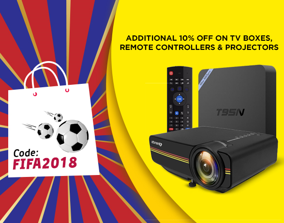 Clik2buy.com - Apply FIFA2018 promo code and get EXTRA 10% OFF on projectors, TV boxes & remote controllers. Promo code valid till 16th July