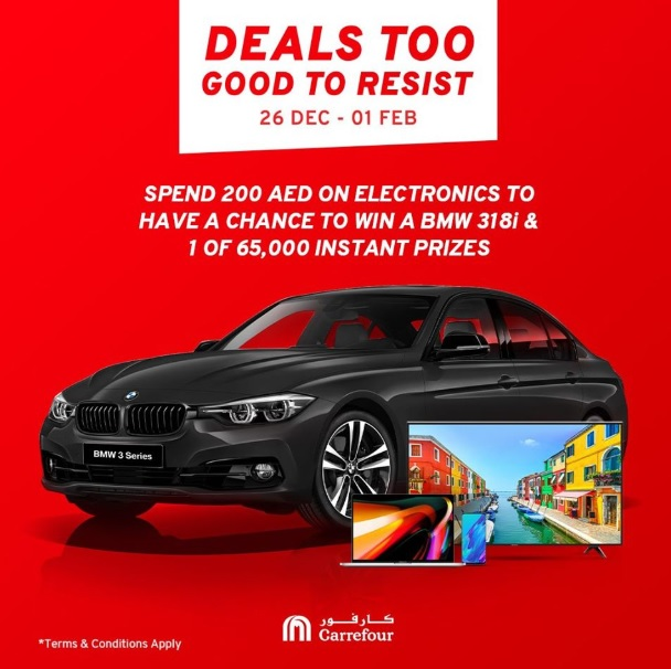 Scratch & WIN! Go discount crazy this DSF and enjoy up to 50% OFF on electronics for a chance to win a brand-new BMW 318i or one of 65,000 instant prizes when you shop 200 AED or more worth of electronics! Shop online or at any Carrefour Hypermarket until the 1st of February.