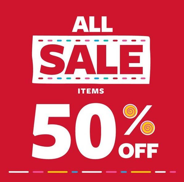 50% off on ALL SALE ITEMS. Head to your nearest Carter's store to get the most adorable pieces at half the price.  T's & C's apply