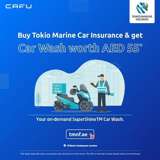 Buy Car Insurance from Tokio Marine and get free car wash done at your place, along with fuel worth upto AED 100.