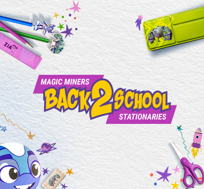 Magic Planet - BACK TO SCHOOL. Pay AED 215 and you get a cool Magic Miners stationery set, which includes a notebook, eraser, pen, pencil and a case, as well as 15 Blue Swiper games.  The offer is only available online and can be redeemed at Magic Planet—Mall of the Emirates, City Centre Mirdif, City Centre Deira and Burjuman Mall only after showing the purchase receipt at the reception counter.