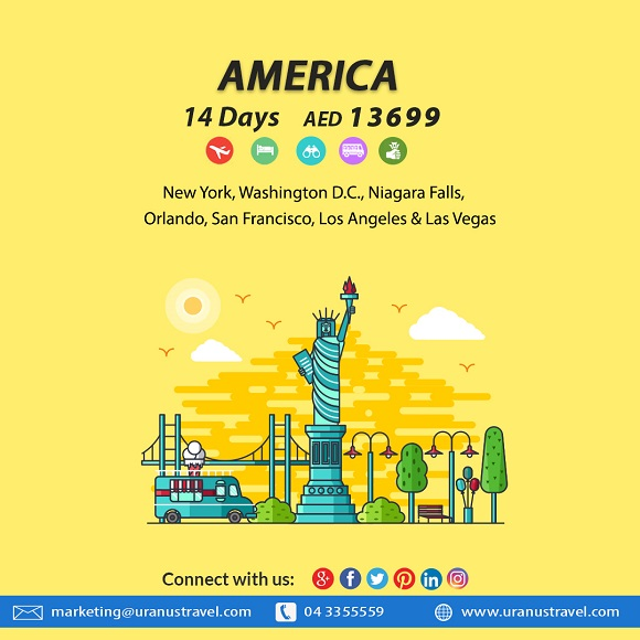 Uranus Travel & Tours - America 14 Days AED 13699. Package Includes: Flights, 4* Hotel, Tours, Transfers, Breakfast, Tour Guide & Taxes