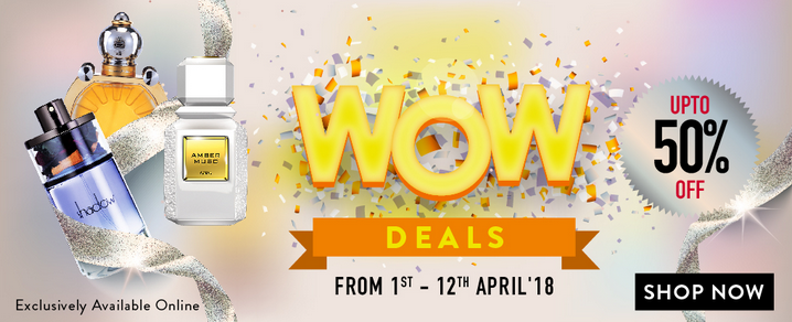 Ajmal Perfume - Wow Deals. Up to 50% Off. Exclusively available online. From 1st - 12th April 2018.