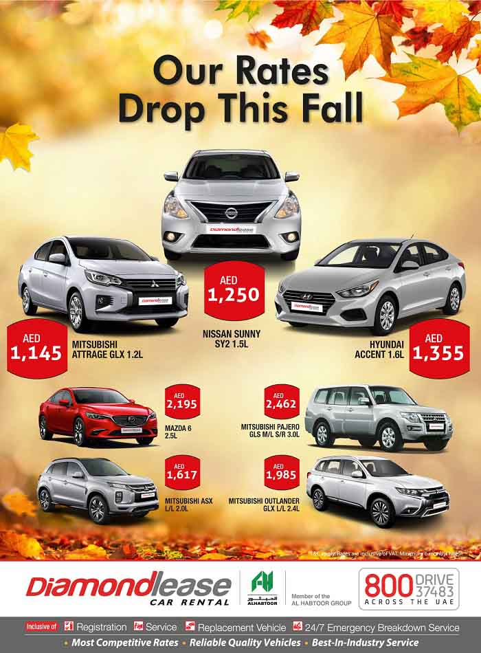 Our Rates Drop this Fall. Special Offers @ Diamondlease Car Rental