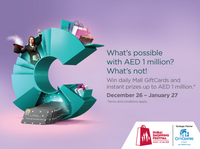 Win daily Mall GiftCards along with other instant prizes worth up to AED 1 million. Shop for AED 300 and win AED 30,000 daily in Mall GiftCards and enjoy 33 days of fabulous entertainment. This Dubai Shopping Festival, City Centre Mirdif makes it possible. December 26 - January 27. T&C apply.