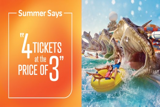 Break the routine this year and head to Yas Waterworld for a perfect summer adventure. Buy 4 tickets and pay for only three with our limited-time Summer offer. If your group is bigger than four people, simply purchase extra park entry tickets with a generous 25% discount on regular prices.