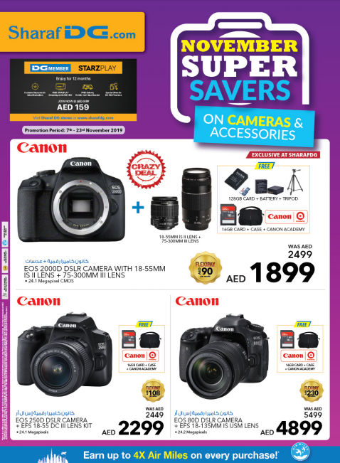 Sharaf DG November Super Savers on Cameras & Accessories. Promotion period: 7th - 23rd November 2019.