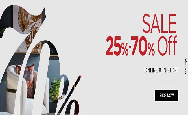SALE 25% - 70% Off @ Home Centre. Available online & in-store. T&C's Apply