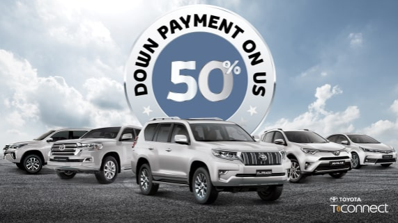 50% Down Payment on Us. Pay only half your down payment upfront when you buy a 2018 Toyota. Offer valid on 2018 Sedans and SUVs. T&C apply.