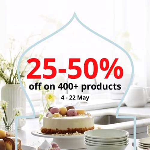 Enjoy 25% - 50% Off in-store and online on over 400+ products @ IKEA. Offer valid from 4th May - 22nd May 2021