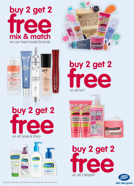 Boots Pharmacy promotions. Valid until August 27.