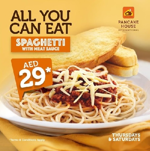Thursdays & Saturdays — UNLIMITED Spaghetti with Meat Sauce for AED29.