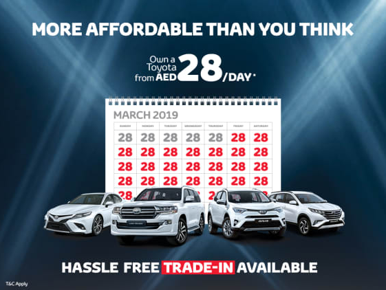 Buying a brand-new Toyota is more affordable than you think. For as little as AED 28 per day, you can own one. What's more, you can also trade in your old car for a new Toyota easily, as we offer buying and selling services under one roof.