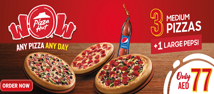Pizza Hut Wow Triples.   Buy any 3 Small Pizza for 55, Medium for 77 & Large for 99 AED With a Family Size Pepsi.  Order Now: www.pizzahut.ae