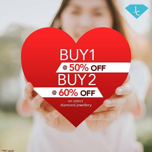 Jewel Corner - Valentine's special offer. Get 50% off when you buy 1 & 60% off when you buy 2. Offer valid on select diamond jewellery till 28th February 2019.  T&C apply.