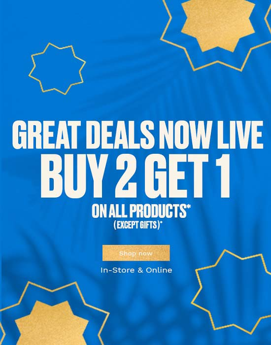 Buy 2 Get 1 Free Offer on all products except gifts in all stores @ The Body Shop